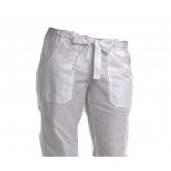 Pantalón en gabardina con jareta. Unisex